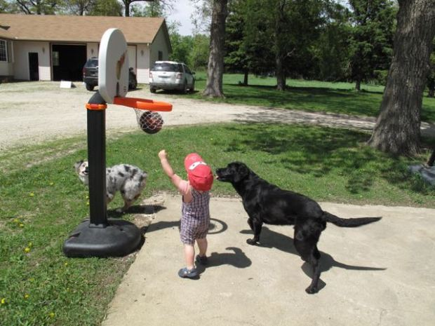 Emmit playing hoop